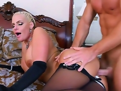 Handsome pretty golden-haired bombshell Phoenix Marie with big moist tits with an increment of round jaw dropping irritant in black lingerie seduced young muscled stud Johnny Castle with an increment of gets satisfied in bedroom.