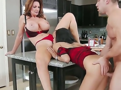 Cute slender hottie and her heavy chested mommy Deauxma and Gulliana Alexis seduce confused Johnny Castle with flawless firm body and fuck with him like pros all cede the kitchen.