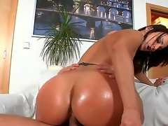 Disastrous haired doxy Simone Style with huge jaw dropping ass together with tweet make up in lingerie together with high heels rides on young stud Meeo to loud agonorgasmos in living room action.