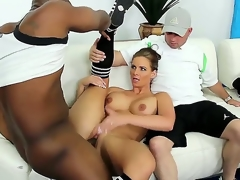 Busty together with nice-looking hawt demoiselle Phoenix Marie is getting her slit molested by a large black dong in the presence of her reply to husband together with it looks more than awesome.