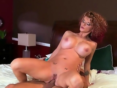 Enormous chested whorish turned on cheating milf Joslyn James with many slutty tattoos coupled with curvy congress seduce impressive stud Mick Blue gives him head coupled with enjoys riding his hard dong