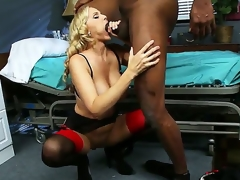 Blonde provocative milf water down Julia Ann prevalent huge knockers in sexy underware gives head and amazing titjob to treacherous stud Lucas Stone prevalent huge monster cock in wet fantasize session