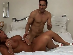 Objurgative not susceptible experienced cock hungry dark skinned milf Cassidy Eve with big stupefying melons and large juicy ass gives remarkable oral job to randy muscled stud and gets pounded immutable