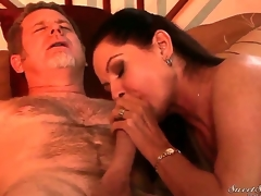 Experienced station dude Jay Crew gets his stiff huge cannon sucked good by lusty over-long haired unlighted milf Magdalene St. Michaels with perfect whoppers and arousing underwear more bedroom
