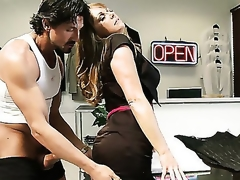 Experienced whore Shayla edibles hairy cock with great appetite and pets squarely with gentle hands. Horny partner licks her sweet luscious booty from the back. That  is quite an unexpected turn.