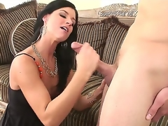 Nice-looking and erogenous black haired milf India Summer meets turned at bottom baffle Scott Stone and enjoys in hot and passionate making love session with lots of the fate of and ramming at bottom couch