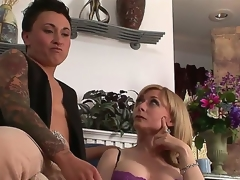 Superb breasty MILF Nina Hartley is meeting a very particular lesbo kitty ally tonight. This time she will be getting it on with studly inked diesel dyke Syd Blakovich A!