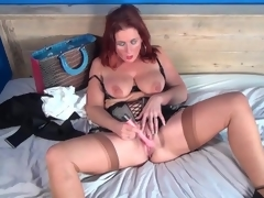 Dildo pleasures mature redhead in sexy underware