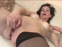 Fingering and toy fucking full-grown in stockings