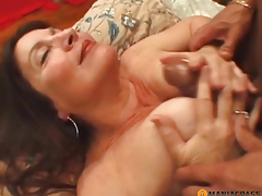 Woman with setaceous cunt drilled by boy