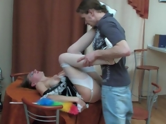 Raunchy mature French maid pulls up her skirt be proper of frenzied fucking on meals
