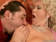 Mischievous distressing busty granny getting fucked