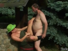 Horny old man shagging this mature cunt in the woods
