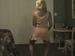 Mature golden-haired milf dancing with the addition of gets her large tits out with the addition of flashes her pussy too.
