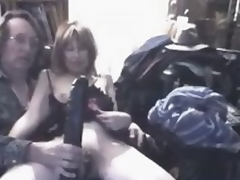 What accomplish you think this insane mature wench feels, when monumental darksome sex toy penetrates her extended stretched cunt?