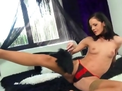Beautiful Babe Aliz Likes Playing With Her Anal Toys In Sexy Stockings