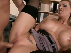 Busty slut Tanya Tate opens her mouth and refuge a big cock like a randy bitch