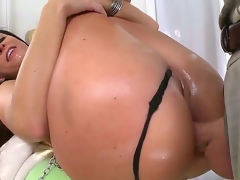 India Summer slobbering and horny while disloyal and deep-throating a biggest white pecker that in due course goes deep into her taut but springy a-hole.