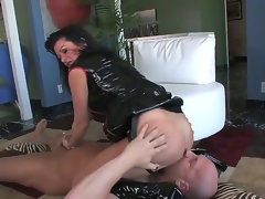 Hardcore MILF fantasy. Staring porn renown Christian XXX and Raquel Devine. This is one hot movie. Just sit wide and watch as this older non-specific squats over this studs face, and acquires him to lick the brush tight pussy. Then this babe forces him to coverlet on the brush strap on, before this babe inserts the brush finger, gaping void close to his ass.