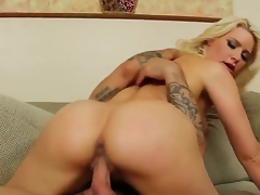Prohibited on blonde wench Anikka Albrite with big round unhoused knights of the road together with natural chest rides on Alan Stafford with stiff cannon like there is no tomorrow together with gets rammed to orgasm.