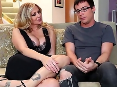 Dane Cross and plump breasted cougar Julia Ann are having some precious time on put emphasize daybed and they look very pretty and rather slutty in many ways.