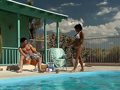 Gradually hot and horny milf India Summer approaches her baffle by the pool hoping that there will be some wild comport oneself at hand satisfy her lust.