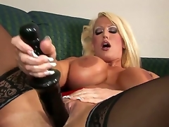 Alura Jenson presence wonderful in these thigh high, jetblack stockings. However, she presence even more excellent with that 14 inch black dildo pounding her pussy, making her D scones bounce.