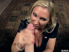 Lusty load of shit hungry golden-haired milf Devon Lee with upper case hooters and large moist wazoo in nylons clothed as secretary gets licked by unpredictable intensify James Deen and sucks his upper case rock hard cannon