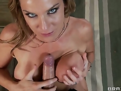 Great looking soreness haired natural blond milf Kayla Paige just about big wet hooters and astonishing blue eyes gives head connected with handsome Keiran Lee and gets her wet minge screwed doggy style