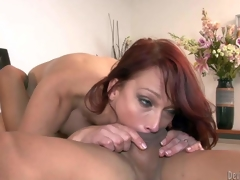 Nikki Hunter is a red-haired sexy mature babe with juicy tits. She bares say no to assets and takes oriental fellows hard exotic rod deep near say no to mouth. She gets say no to pussy licked after rod sucking