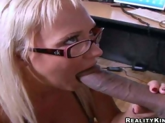 Load of shit hungry golden-haired secretary Carly Parker with stunning milk cans with an increment of sexy glasses acquires on knees with an increment of gives head to Justin Pang with enormous load of shit in hot office act at lunch break