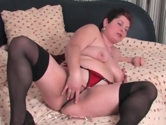Fat mature in stockings added to be dying for masturbates