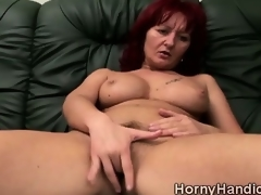 Cruel redhead MILF back bulky boobs goes powered on burnish apply couch