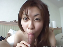 Naturally breasted Japanese doll gives a blowjob to a dick