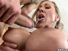 After receiving an ass licking, this hot MILF sucks a big cock