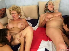 An fuckfest of pussy with old and youthful lesbians munching an obstacle rug