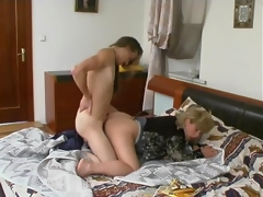 Oral games with younger dude turning into sheer fuck for breasty grown-up honey