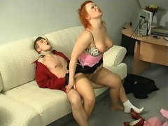 Sultry milf also genuflexion down to show their way sucking wit after hot muff-diving