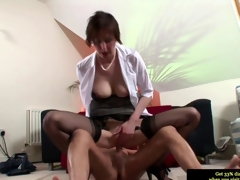 Euro mature in stockings riding a bulging dick