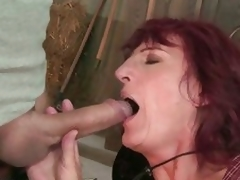 The sexy man didn't mind that he was mouth fucking grandma Ria