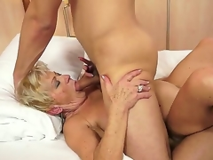 Crazy granny named Malya gets a young and sexy cock in her bushy love tunnel