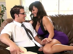 Very sexually excited Chris Johnnson encounters hot plump breasted milf Lisa Ann plus they start making parts in a very passionate plus quite arousing way.