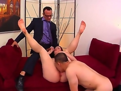 Cuckold redhead Melody Jordan with juicy zeppelins together with gigantic round ass receives licked together with fucked hard on couch in wild together with spontaneous threesome with Kurt Lockwood together with Erick Jover.