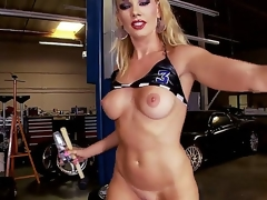 Smoking hot blonde bombshell Sandy with whorish heavy make up and nice steadfast hooters in all directions white-hot thong and lengthy boots teases with jaw dropping ass and stuffs twat with hammer.