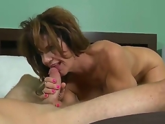 This perverted MILF with heavy juggs loves being screwed pain with an increment of hard. After say no to pussy is tamed she gives say no to lover a satisfying oral-stimulation convention him cum a huge load.