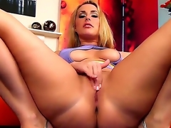 Gorgeous youthful blonde girl Paige Turnah is demonstrating sexy yummy wazoo and then gets on the couch in doggy pose and masturbating her twat.