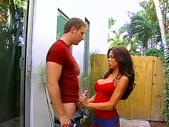 Posh hottie Hunter Bryce catches her neighbor peeping at her and seduces the guy to have to one's liking sex. Watch her exposing melons and giving to one's liking blowjob in a garden of her house.