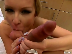 Turned on vagina licking Bill Bailey with corpulent hard cannon gets blowjob wean away from lusty sexy ass blonde milf Jessica Moore with big juicy drape hooters and long whorish nails in kitchen