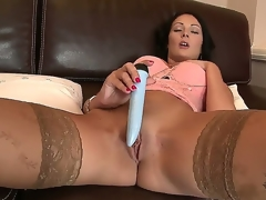 Really bootylicious dark haired hottie Nicole Smith with great pointer sisters in hawt underware together with stockings enjoys in playing with her sex toys on the sofa in the living room in the afternoon