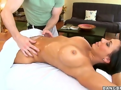 Hawt arse heady black haired pornstar milf Rachel Starr with massive stunning hooters and pierced nipp gets say no to steaming hot body oiled and massaged at the end of one's tether filthy impressive masseur
